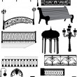 Stock Vector: Fences and lamps