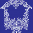 White on blue curled design — Imagen vectorial