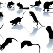 Fourteen rodent silhouettes - Stock Vector
