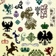 Heraldic animals and ornaments set — Stock Vector #6328187