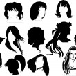 Fourteen woman hairstyles - Stock Vector