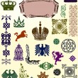 Royalty-Free Stock Vector Image: Set of heraldic animals and ornaments
