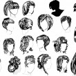 Twenty two woman hairstyles - Stock Vector