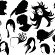 Fourteen woman hairstyles — Vektorgrafik