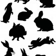Rabbit silhouette set — Stock Vector