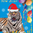 New year tiger on blue background — Stock Vector