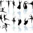 Eighteen dancers with reflection — Stock Vector #6328273