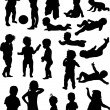 Set of isolated baby silhouettes — Stock Vector