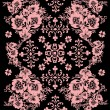 Pink symmetric pattern with flowers - Stock Vector