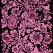 Floral pink ornament on black - Stock Vector
