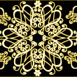 White and yellow ornament on black - Imagen vectorial