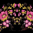 Symmetric gold and pink flower design - Stock Vector