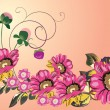 Decoration with five big pink flowers - Stock Vector