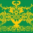 Gold floral decoration with eagle - Imagen vectorial