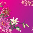 Corner with different lily flowers - Imagen vectorial