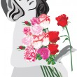 Woman and roses illustration — Stock Vector