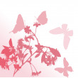 Flower branch and four butterflies - Stock Vector