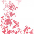 Pink cherry flowers with butterflies — Stock Vector #6329135