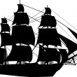 Black ship on white — Imagen vectorial