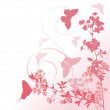 Butterflies and pink cherry tree flowers — Stock Vector #6329168