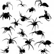 Stock Vector: Eighteen spider silhouettes