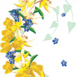 Stock Vector: Yellow and blue flower curl on white