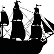 Ship with sails silhouette — 图库矢量图片