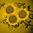 Royalty-Free Stock Vector Image: Sunflowers on yellow background