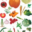 Set of ripe vegetables — Stock Vector