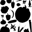 Vegetables silhouettes on white — Stock Vector
