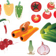 Color vegetables set - Stock Vector