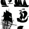 Ship silhouette collection — Stock Vector