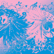 Pink and blue fantasy birds background — Stock Vector