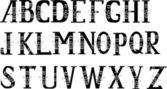 Alfabeto negro con blanco curles — Vector de stock