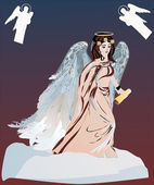 Angel with scroll — Stockvector