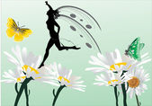 Kamille bloemen en sprookjes — Stockvector