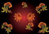 Color flower and birds ornamen — Stock Vector