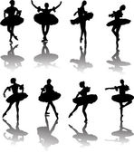 Eight ballet dancers with reflection — Stock Vector