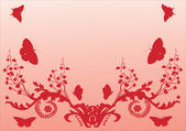 Red butterflies and flowers — Stock Vector