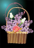 Full basket of lilac and rose flowers — Stock Vector