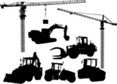 Set of building machine silhouettes — Stock Vector