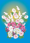 Bunch of light pink flowers on blue — Stock Vector