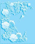 Niebieskie kwiaty z cieniem — Wektor stockowy