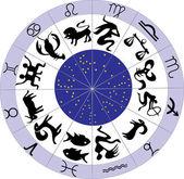 Twelve zodiac symbols — Stock Vector