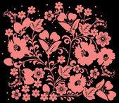 ピンクの花の束は黒で — ストックベクタ