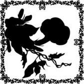 Single flower silhouette in frame — Stock Vector
