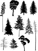 Eleven trees set — Stock Vector