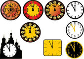 Clock collection illustration — Stock Vector
