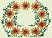 żółty kwiat rama z zielony loki — Wektor stockowy