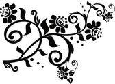 Conventionalized czarny gałąź kwiatowy — Wektor stockowy